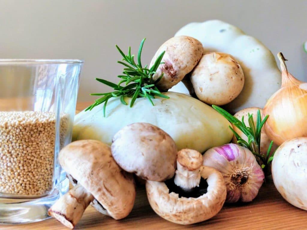 Фаршированные патиссоны с грибами и киноа